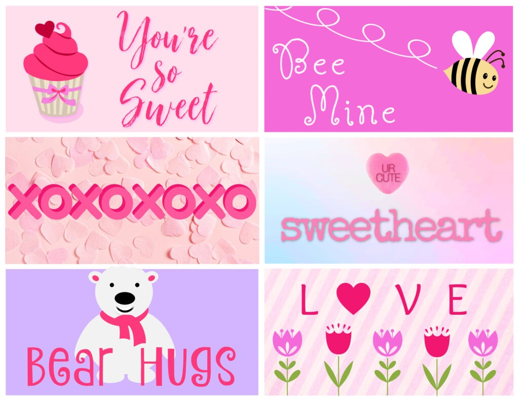 Six free printable COVID themed Valentine cards in a pink and lavender colour pallet by Champagne and Sugarplums