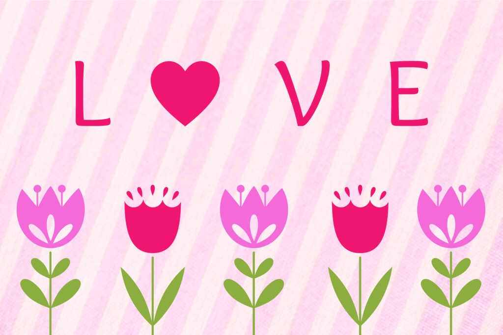 Pink striped Valentine card with purple and pink tulips and 'love' written on it by Champagne and Sugarplums