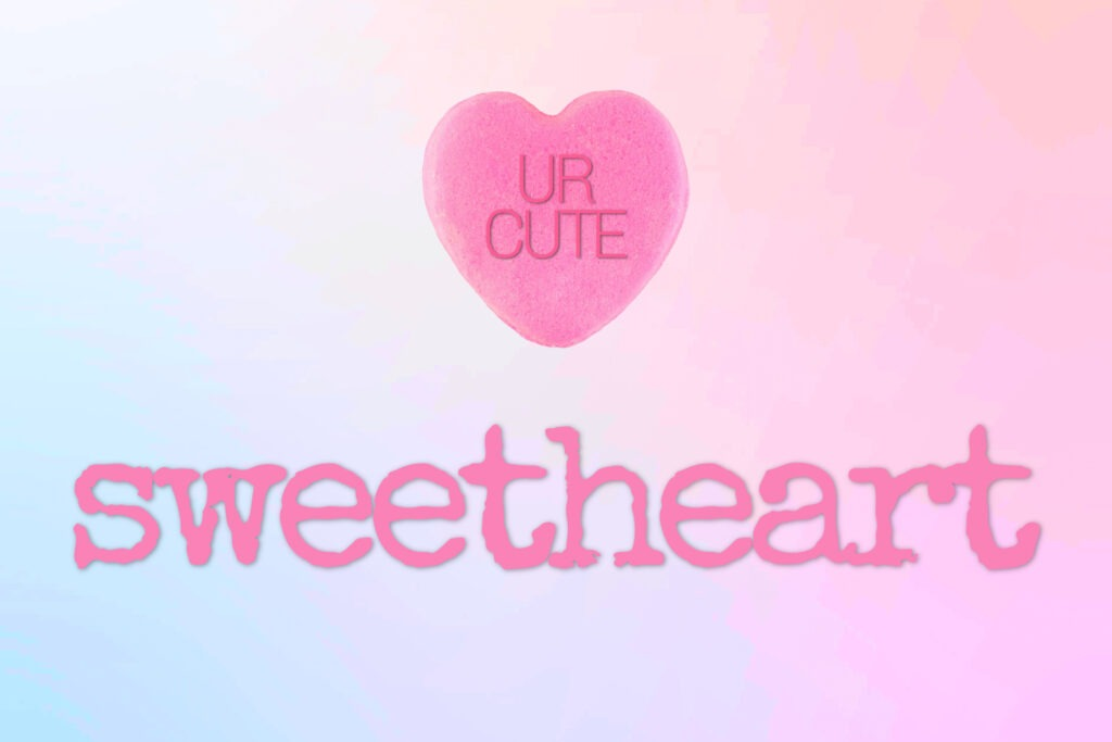 Pink ombre Valentine card with a candy heart and 'sweetheart' written on it by Champagne and Sugarplums