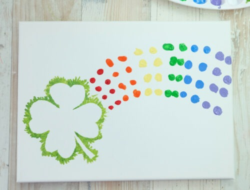 Shamrock Rainbow Finger Painting Kids Craft by Champagne and Sugarplums Title