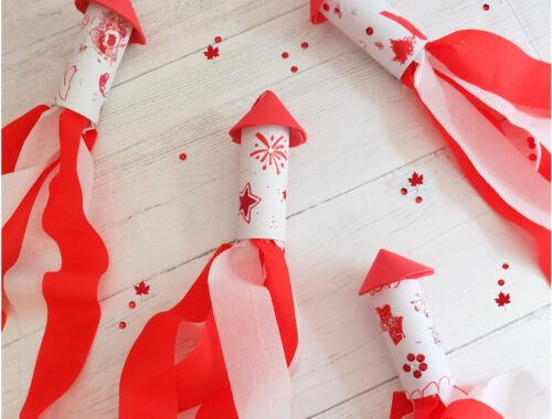 Fun Canada Day Rocket Windsock for Kids to Make by Champagne and Sugarplums